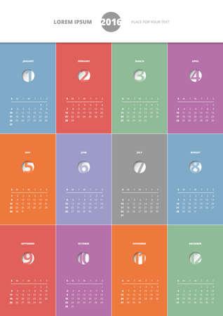Calendar 2016 year, color vector template design