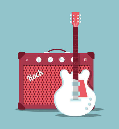 guitar amplifier: Electric guitar and amplifier, vector illustration, flat design