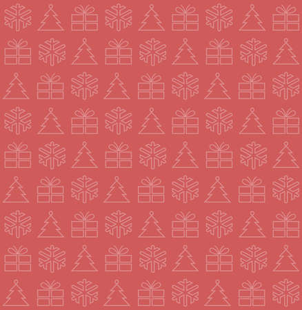 Seamless background with Christmas motifs, vector illustration, on red