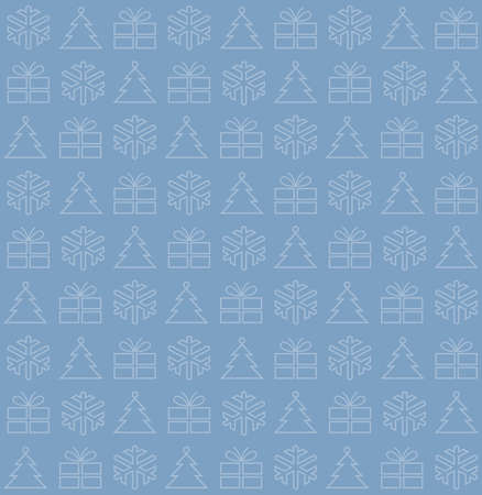 Seamless background with Christmas motifs, vector illustration, on blue