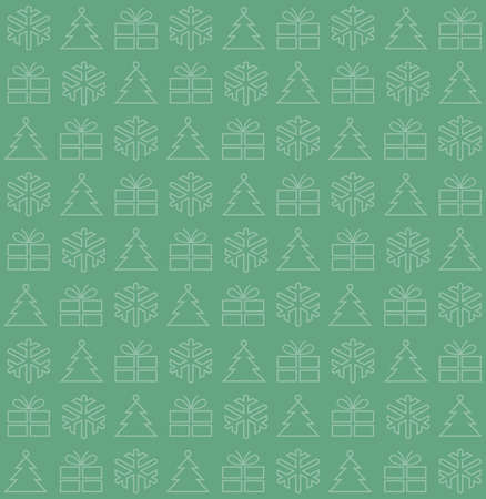Seamless background with Christmas motifs, vector illustration, on green