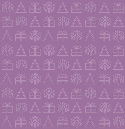 Seamless background with Christmas motifs, vector illustration, on purple