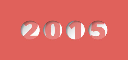 Year 2015,  perforated plate with numbers, board with circular holes, vector label