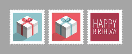 Three postage stamps with gifts, set of vector icons, flat design