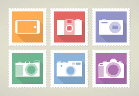 Six colorful stamps with photographic equipment, set of vector icons, flat design