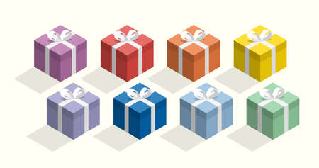 Gift boxes in rainbow colors, simple vector illustration Çizim