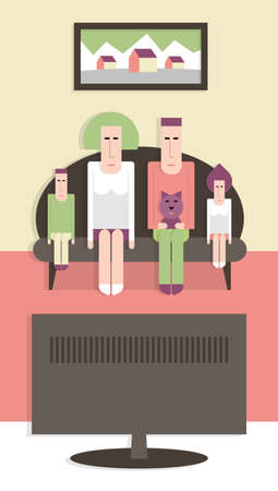 Family on the couch watching TV, vector cartoon illustration, flat design