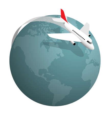 Avión volando alrededor del globo, ilustración vectorial en blanco Ilustración de vector