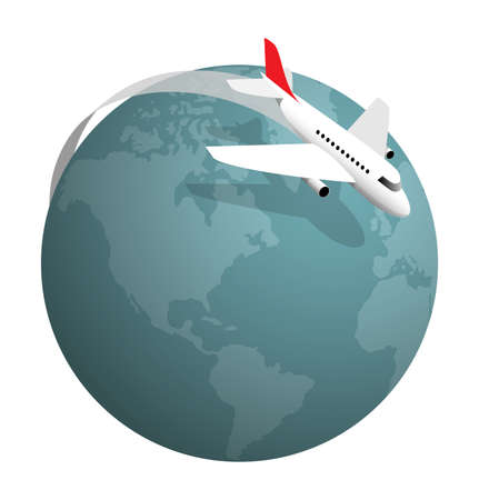 air plane: Plane flying around the globe, vector illustration on white