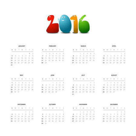 Calendar 2016 with funny monsters, vector design template, square format Illustration