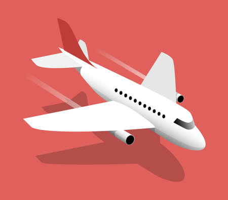 Airliner, vector illustration on a red background Stock Illustratie