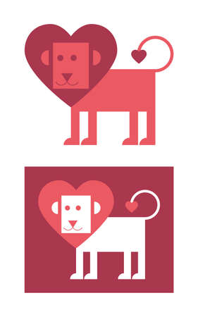 Maned lion heart-shaped, greeting card on Valentines day, vector icon