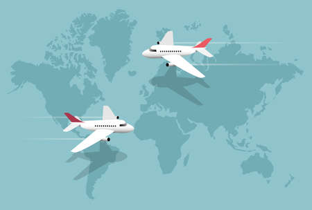 planes: Airlines, planes over world map, vector illustration