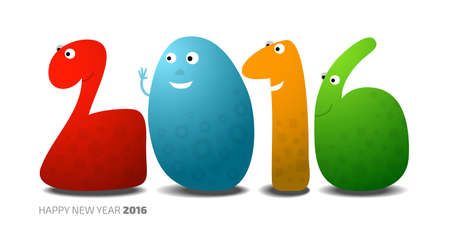 newyear card: Happy New Year 2016, monsters in the shape of numbers, vector cartoon illustration