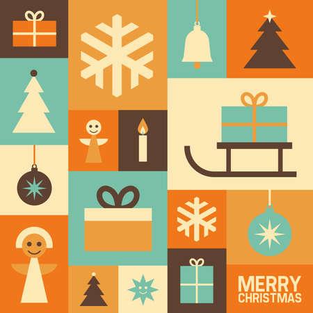 Illustration with Christmas symbols, vector background, flat design Illustration