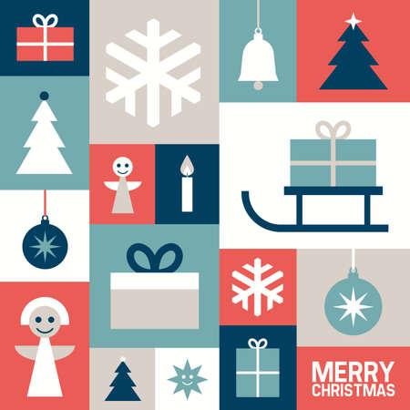 cajas navide�as: Fondo con s�mbolos de la Navidad, ilustraci�n vectorial, dise�o plano