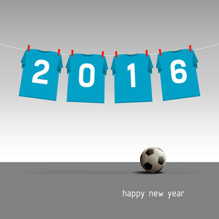 Soccer jerseys on the cord, wishes for the new year 2016, vector illustration - blue version Stock Illustratie