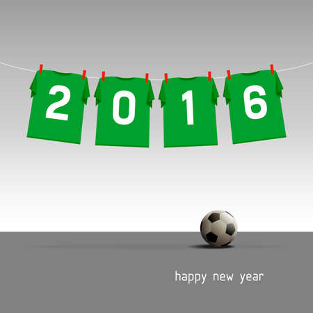 Soccer jerseys on the cord, wishes for the new year 2016, vector illustration - green version