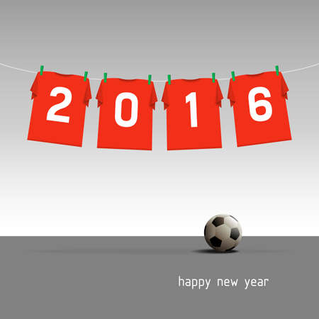 Soccer jerseys on the cord, wishes for the new year 2016, vector illustration - red version