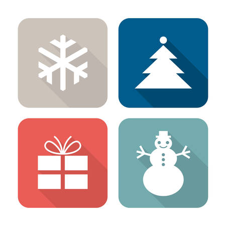 Christmas icons in four colors, vector illustration, flat design