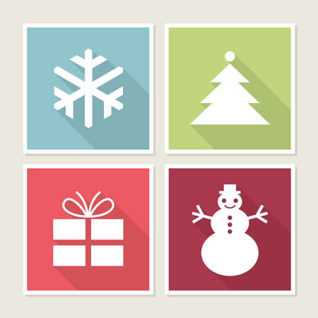 Four icons with Christmas symbols, vector illustration