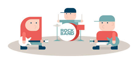 Three rock musicians, rock band, cartoon vector illustration, flat style Illustration