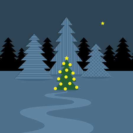 Snowy landscape with Christmas tree, Christmas evening, vector illustration