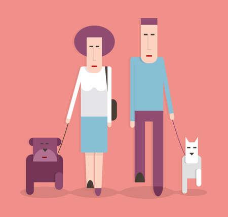 Man and woman walking the dogs, cartoon illustration, flat design