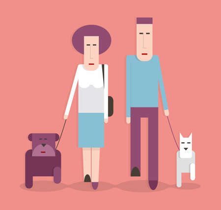 Man and woman walking the dogs, cartoon illustration, flat design
