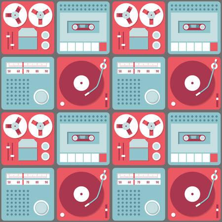 grabadora: De fondo sin fisuras con los dispositivos de audio retro - grabadora, gram�fono, la radio y grabadora de cassette