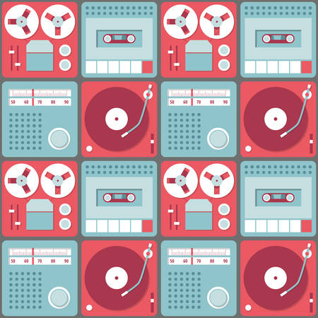 Seamless background with retro audio devices - tape recorder, gramophone, radio and cassette recorder