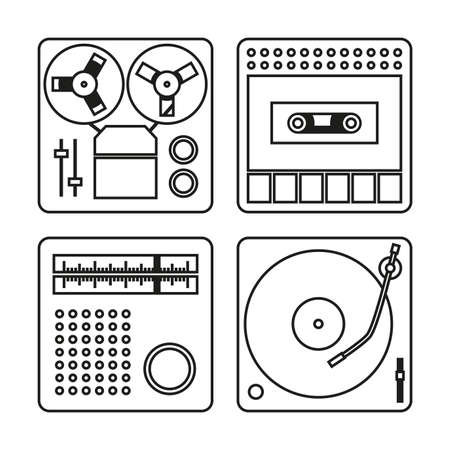grabadora: Set of white icons with black outlines for tape recorder, gramophone, radio and cassette recorder Vectores