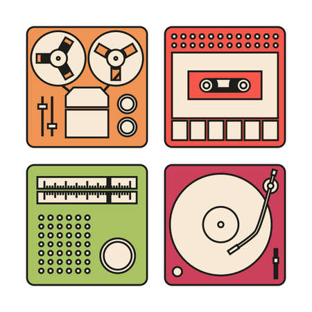 Set of icons with outlines for tape recorder, gramophone, radio and cassette recorder