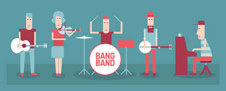 Five musicians, country and folk band, flat style vector illustration