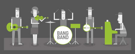 Five musicians, country and folk band, flat style vector illustration, BW and green Illustration