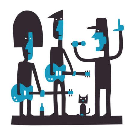 Three rock musicians, rock band, cartoon vector illustration on white