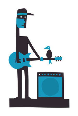 Rock guitarist with amplifier, cartoon vector illustration on white Stock Illustratie