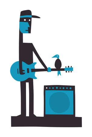 Rock guitarist with amplifier, cartoon vector illustration on white Illustration