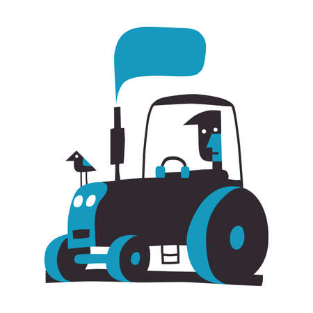 Tractor driver, simple vector illustration on white
