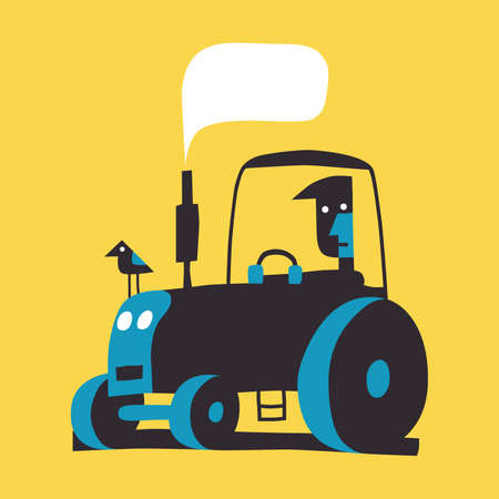 Man on tractor, simple vector illustration on yellow