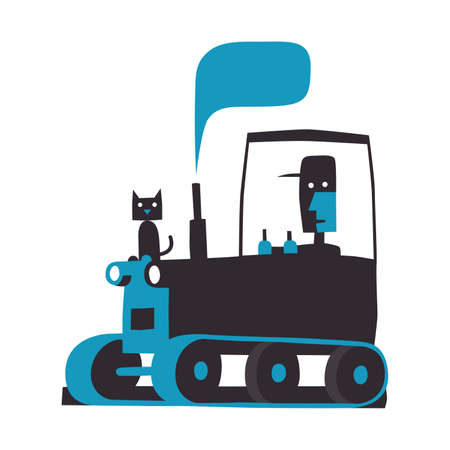 Caterpillar tractor, simple vector illustration on white Stock Illustratie