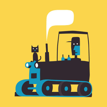 Man, cat and caterpillar tractor, simple vector illustration on yellow