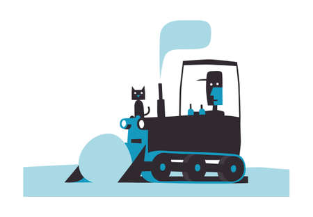 Crawler tractor rolls snow, simple vector illustration on white