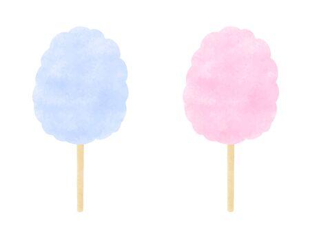 Hand drawn illustrations of cotton candy Ilustración de vector