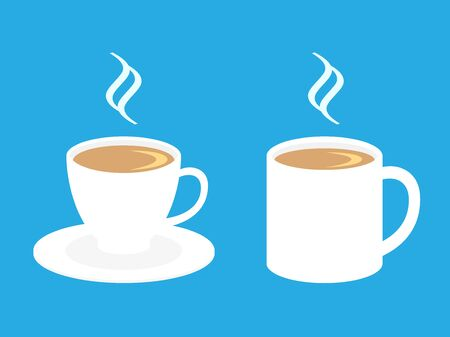 Vector illustrations of a coffee cup and a mug with hot drink