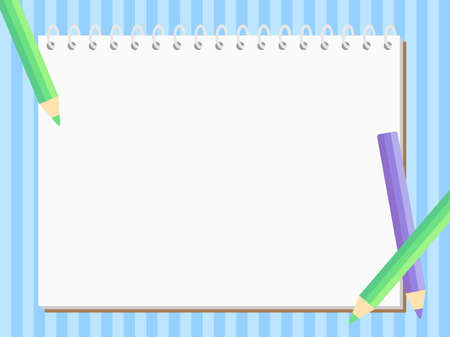 Background illustration of a sketchbook and color pencils. Vector illustration.