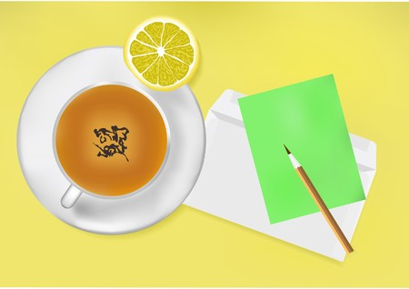 A cup of tea, envelope, pencil and sticker on the table. Stock Vector - 7023392