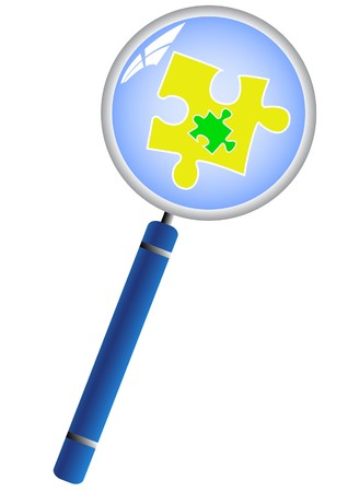 Magnifying glass analyzing the puzzle concept