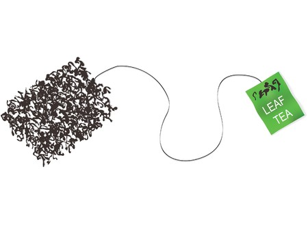 chinese tea cup: teabag made from tea leaf concept