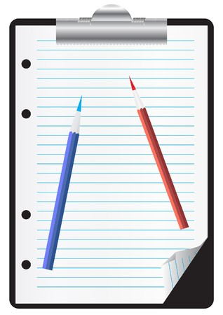 Clipboard with paper and pencils Stock Vector - 7023263